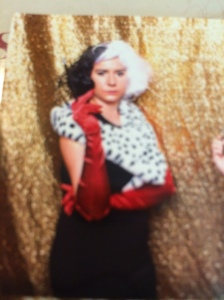 Excuse my poor picture of a picture taking ability...but you get the gist of my Cruella getup.